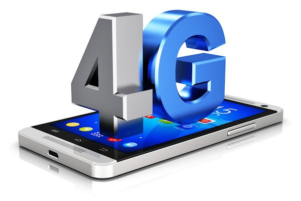 Creative abstract mobile telecommunication cellular high speed data connection business concept: blue metallic 4G LTE wireless communication technology logo, symbol, icon or button on modern metal black glossy touchscreen smartphone with colorful interface isolated on white background with reflection effect