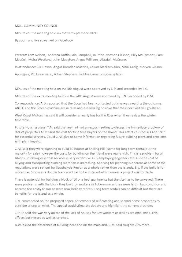 MCC Draft Minutes 1 September 2021
