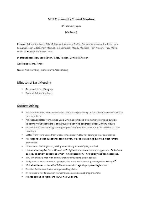 Febuary 2021 Minutes